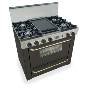 """Five Star36"""" All Gas Range, Open Burners, Black with Brass"""
