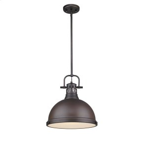 Duncan 1 Light Pendant with Rod in Rubbed Bronze with a Rubbed Bronze Shade