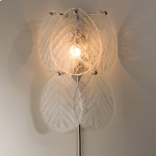 Murano Glass Leaf Wall Sconce-Nickel