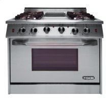"""NXR 36"""" Professional Range with Four Burners, Griddle, Convection Oven (NRG3601)"""