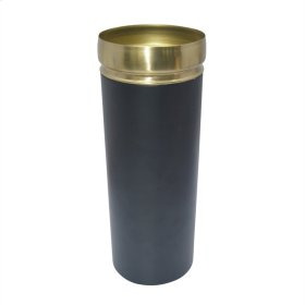 "13"" Metal Vase W/gold Rim, Black"