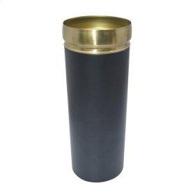 "13"" Metal Vase W/gold Rim, Black"