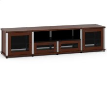 Synergy Solution 245, Quad-Width AV Cabinet, Walnut with Aluminum Posts