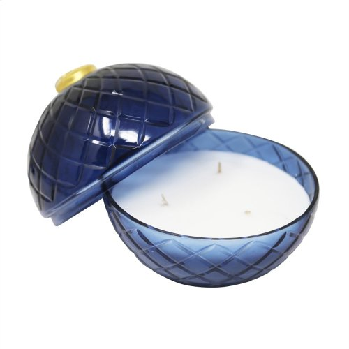 "7"" Cut Glass Ball W/candle, Blue"