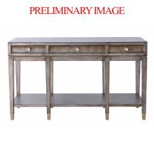Burl Modern Three Drawer Console Table