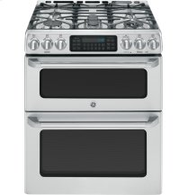 "GE Caf(eback) Series 30"" Slide-In Front Control Gas Double Oven with Convection Range"