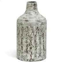 White Washed  14in x 8in Decorative Floral Metal Vase