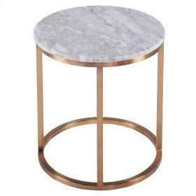 Elon KD Round End Table Marble Top, White