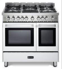 "White 36"" Gas Double Oven Range - 'N' Series"