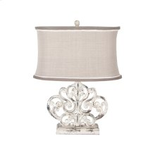 Carved Scroll Element Table Lamp In Vintage Bouleau Blanc