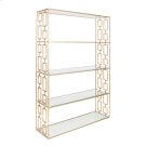 Hammered Gold Leaf Etagere W. Clear Glass Shelves. Product Image