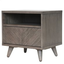 Piero Chevron Night Stand/SideTable, Weathered Gray
