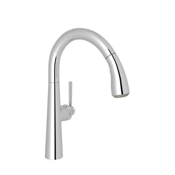 Polished Chrome Lux Pull-Down Bar/Food Prep Faucet with Lux Metal Lever