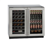 """Modular 3000 Series 36"""" Beverage Center With Stainless Frame (lock) Finish and Double Doors Door Swing"""
