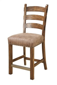 Ladder Back Barstool W/nailhead & Fabric Seat Dixie Almond