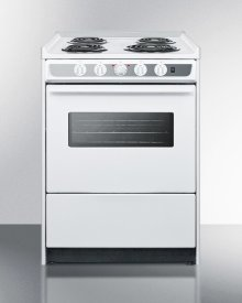 """Slide-in Electric Range In Slim 24"""" Width With White Porcelain Construction and Oven Window"""
