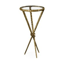 Hammered Light Brown Brass Circular Wine Table