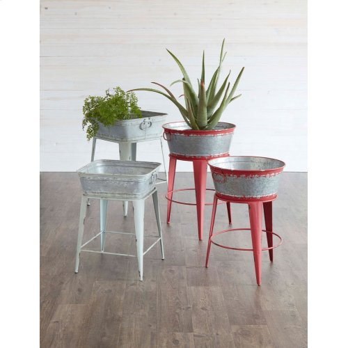 Distressed Red Round Bucket Plant Stands with Handles (2 pc. set)