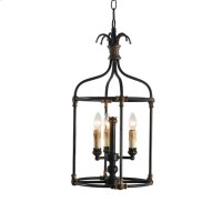 3-Light Hand Painted Rustic Black Lantern with Age Product Image
