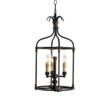 3-Light Hand Painted Rustic Black Lantern with Age