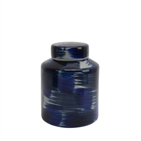 "Ceramic Jar W/ Lid 9"", White/blue"