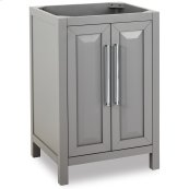 "24"" vanity with grey finish and clean, leading-edge design"