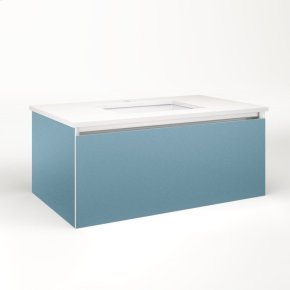 """Cartesian 36-1/8"""" X 15"""" X 21-3/4"""" Single Drawer Vanity In Ocean With Slow-close Plumbing Drawer and Night Light In 5000k Temperature (cool Light)"""