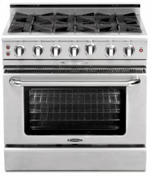 "36"" four Open Burner + Griddle, all gas, manual clean range, Liquid Propane"