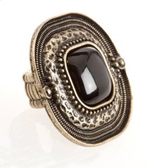 BTQ Burnished Gold Ring with Black Center Stone