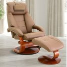 Sand (Tan) Top Grain Leather with Walnut Finish -Reclines -Swivels -Adjustable Cervical Pillow -Quality Top Grain Leather -Pillow Top Back Cushion Product Image