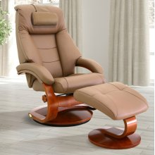 Sand (Tan) Top Grain Leather with Walnut Finish -Reclines -Swivels -Adjustable Cervical Pillow -Quality Top Grain Leather -Pillow Top Back Cushion