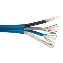 2x Cat6 (hncproplus) 23 Awg Solid Bc, Utp + 2x Rg6/u Quad Shield Coax Bc- (bundled), Ul Cm, Overall Pvc Jkt- Blue- 500ft/152m Spool