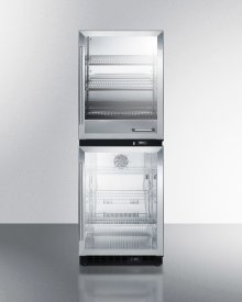 Fully Assembled Warming Cabinet & Glass Door Beverage Center Stacked Combination