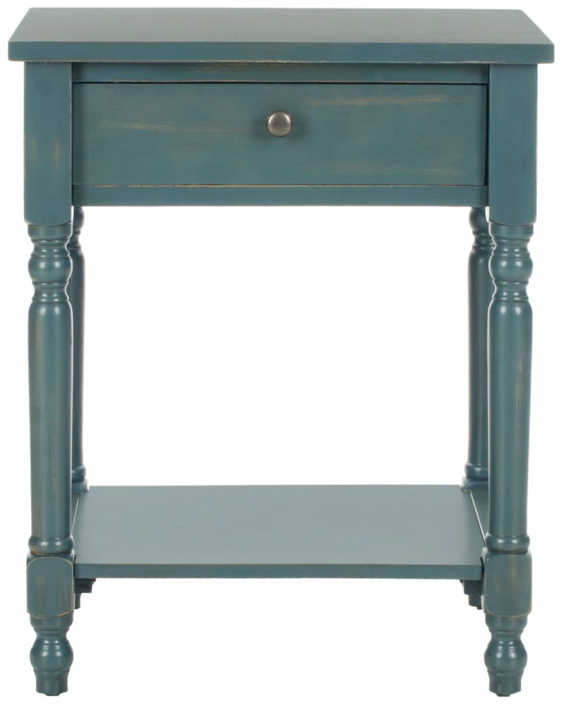 Tami Accent Table With Storage Drawer - Steel Teal