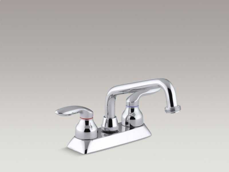 Hidden Additional Polished Chrome Utility Sink Faucet With Threaded Spout And Lever Handles