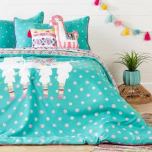 Kids Bedding set: Comforter, Pillowcase, decorative cushions and guirland Festive Llama - 54''