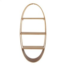 "Oval 36"" Wood/metal Wall Shelf, Bronze"