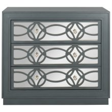Catalina 3 Drawer Chest - Steel Teal / Nickel / Mirror