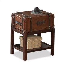 Latitudes Suitcase Chairside Table Aged Cognac finish