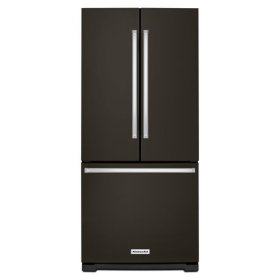 KitchenAid® 20 cu. Ft. 30-Inch Width Standard Depth French Door Refrigerator with Interior Dispense - Black Stainless