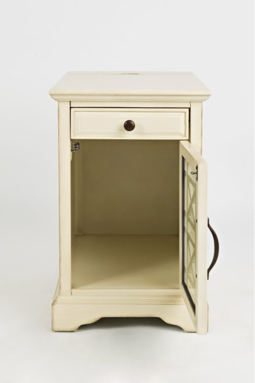 Craftsman Power Chairside Table - Antique Cream