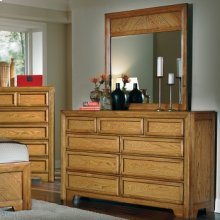 Nine Drawer Triple Dresser and Landscape Mirror