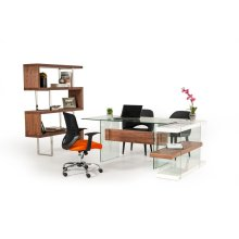 Modrest Sven Contemporary White & Walnut Desk & Shelves