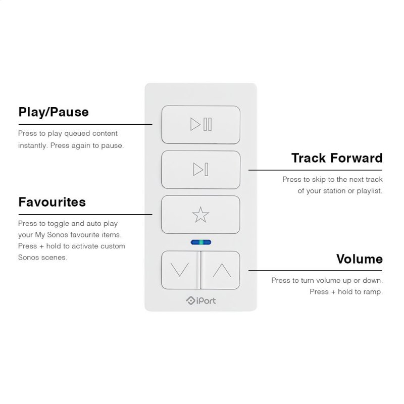 White- Play music instantly with the press of a button
