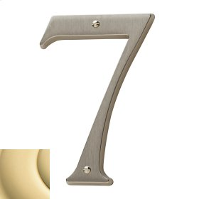 Polished Brass House Number - 7