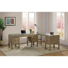 Liam - Return Desk - Gray Acacia/galvanized Metal Finish