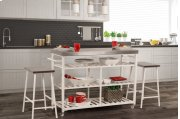 Kennon 3-piece Kitchen Cart Set - White With Stainless Steel Top Product Image