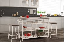 Kennon 3-piece Kitchen Cart Set - White With Stainless Steel Top