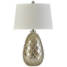 Mercury Filigree  27in Ornamental Traditional Embossed Glass Body Table Lamp  150 Watts  3-Way