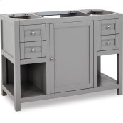 """This 47-1/2"""" vanity has a grey finish, satin nickel hardware and clean lines with a stepped door profile."""